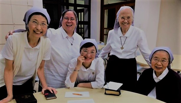 Maria with sisters of Japan in one of the Provincial Gatherings
